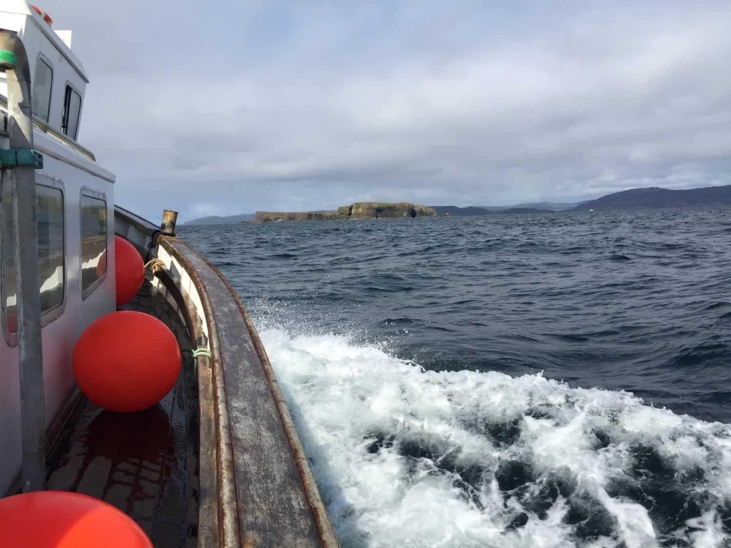 Our boat (the Iolaire) approaching the Isle of Staffa