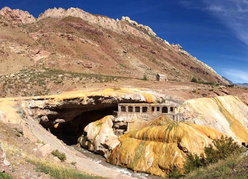 Puente del Inca, a natural stone bridge with gorgeous colors from mineral deposits