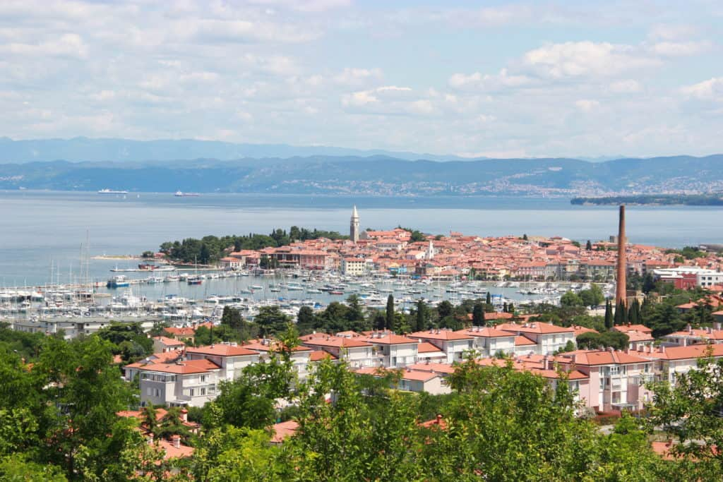 View of Piran, Slovenia, from afar...Piran is a perfect day trip from Ljubljana