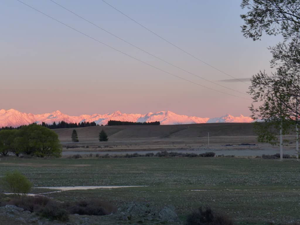 Sunrise over the Southern Alps of New Zealand's South Island, near Lake Tekapo...all about our trip to the Lake Tekapo area