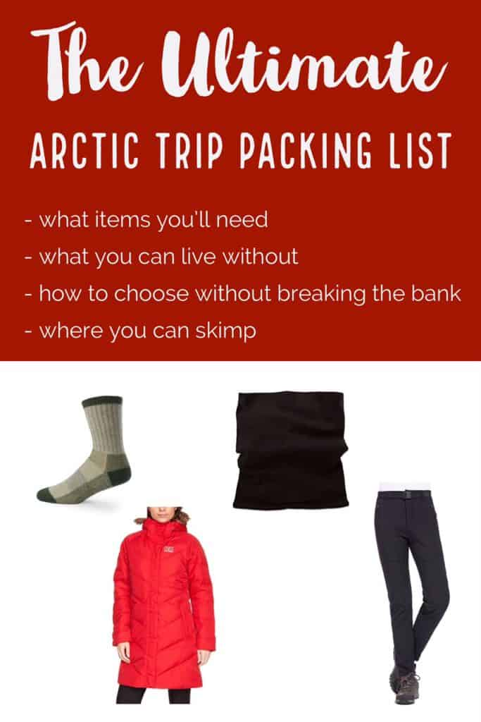 The ultimate packing list for an Arctic winter trip! Tips for what to bring for Iceland, Norway, Sweden, or other Arctic Circle areas in the winter. Choosing the best fabrics and clothing for winter travel. Everything you need to know about winter in the Arctic. Best winter coat, boots, thermals, & more!