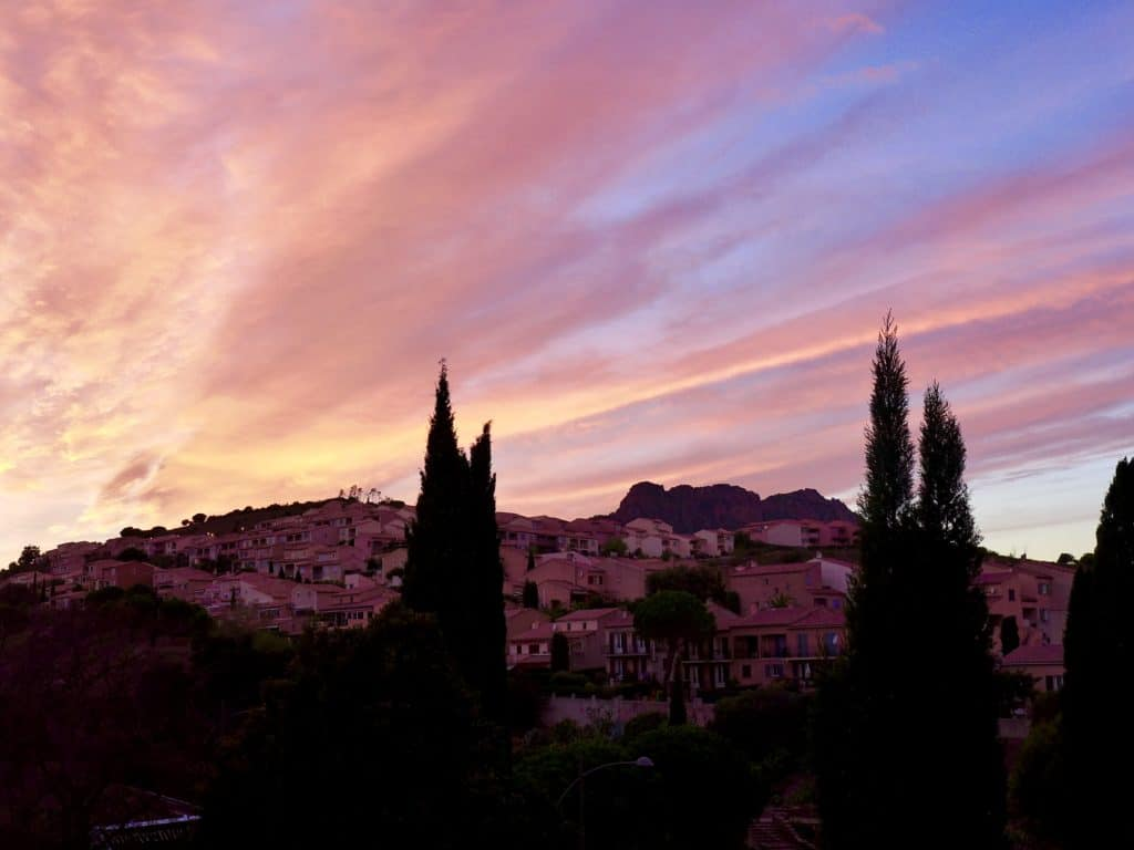 Sunset in Roquebrune-sur-Argens, after a day touring wineries in Provence | a French Riviera itinerary isn't complete without tasting wines in Provence! Tips from the wine tour we took, which wineries we visited in Aix-en-Provence