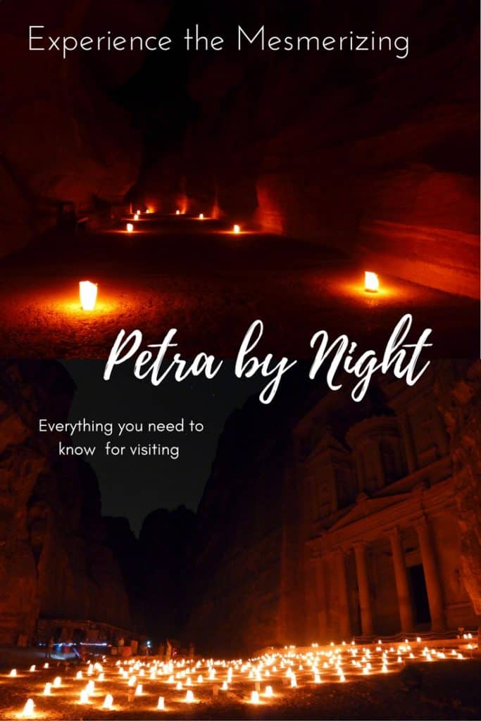 Petra by Night is a can't-miss experience when visiting Jordan | Tips for seeing Petra at Night, one of the Seven Wonders of the World | nighttime photography, best views, and a secret tip for getting the best pics | Lost City of Petra at night, Wadi Musa, Jordan