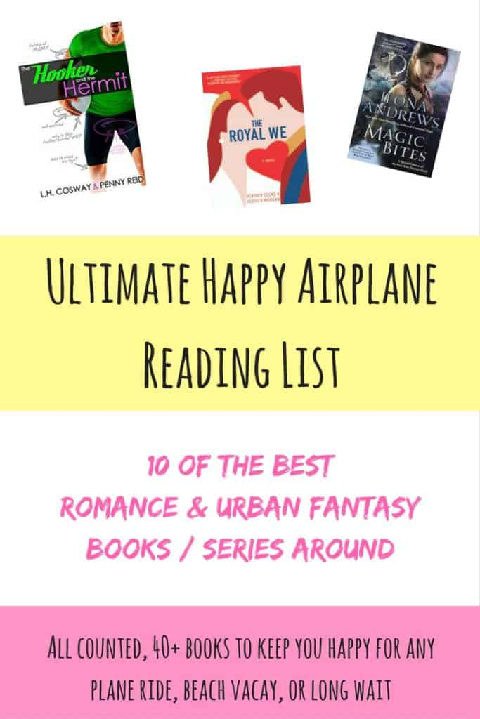 The ultimate happy airplane reading list...40+ of the best romance & urban fantasy books and series around. While my reading tastes run the gamut, I've learned that only happy books work for me on planes. Here are recommendations for some of my go-to reads for any flight or beach vacation!