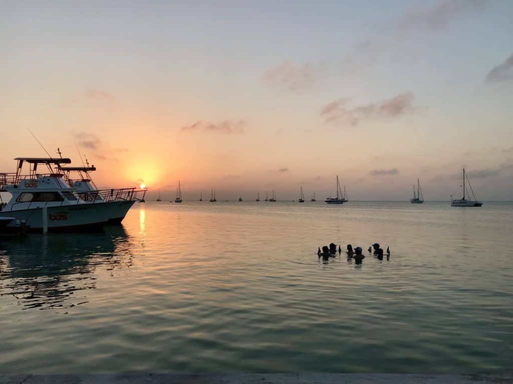 Sunset from the Lazy Lizard at the Split in Caye Caulker