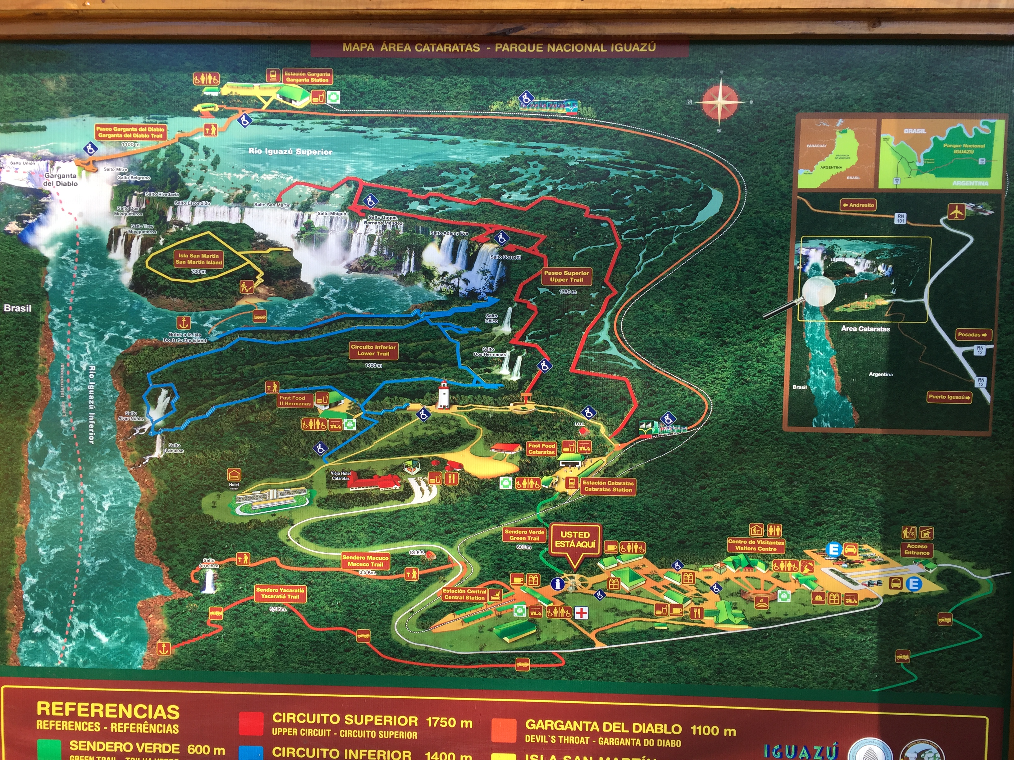 On-site map of Iguazu Falls...have a plan going in!
