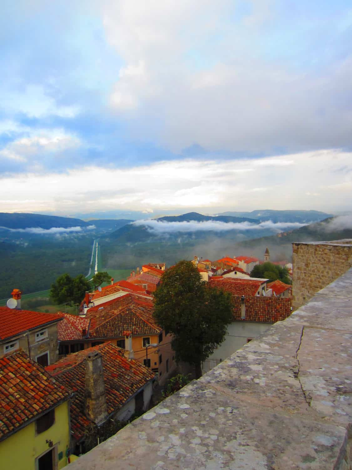 misty view from the historic town walls
