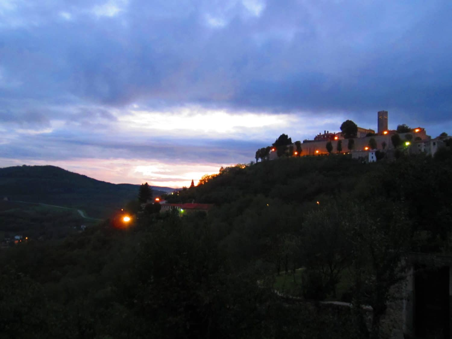 Twilight looking back at Motovun. A visit to this town is a must-do in northern Croatia!