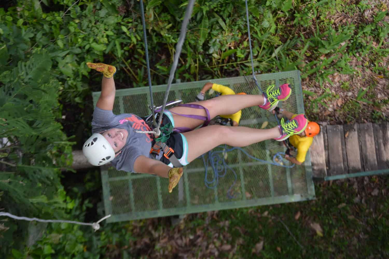 The final rappel down after the last zipline