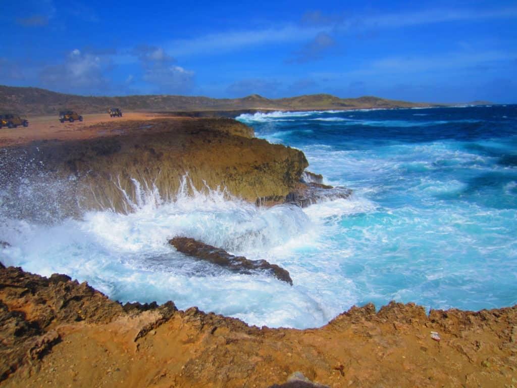 Taking a jeep tour in Aruba...crashing waves in Arikok National Park