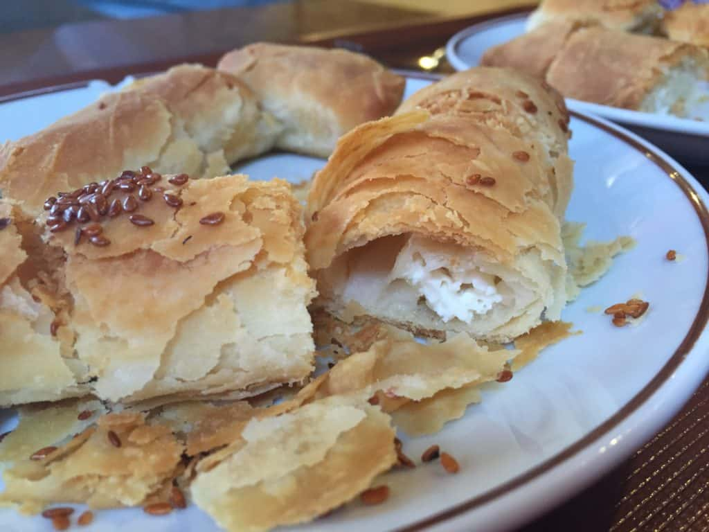 Flaky burek pastry on a walking food tour of Istanbul