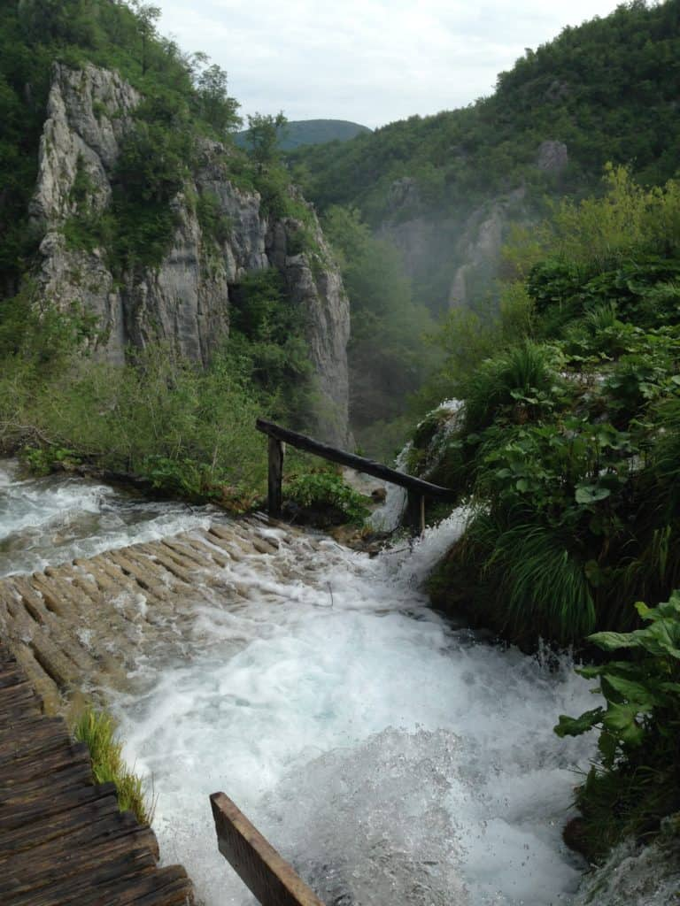High water over the walkways of Plitvice Lakes, Croatia