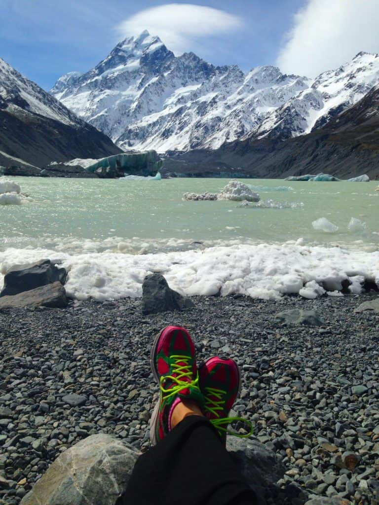 The view is the reward on the Hooker Valley track