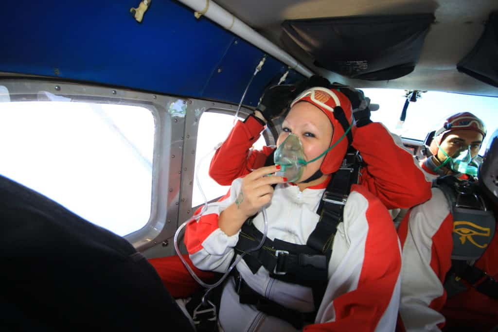 Getting ready to jump out of a plane in New Zealand