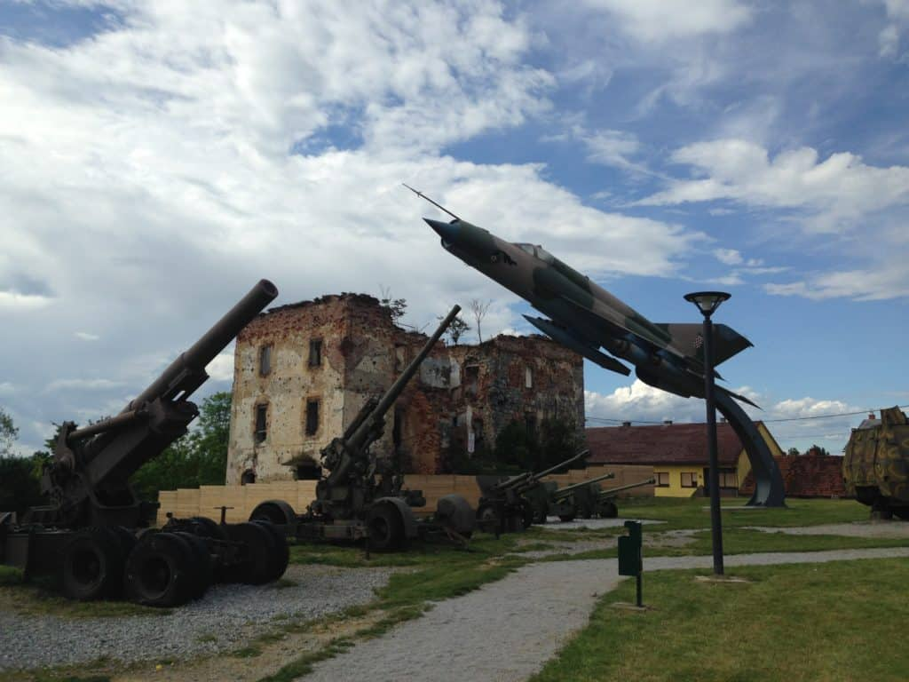 A Croatian fighter jet shot down by Serbian forces in the Croatian War for Independence