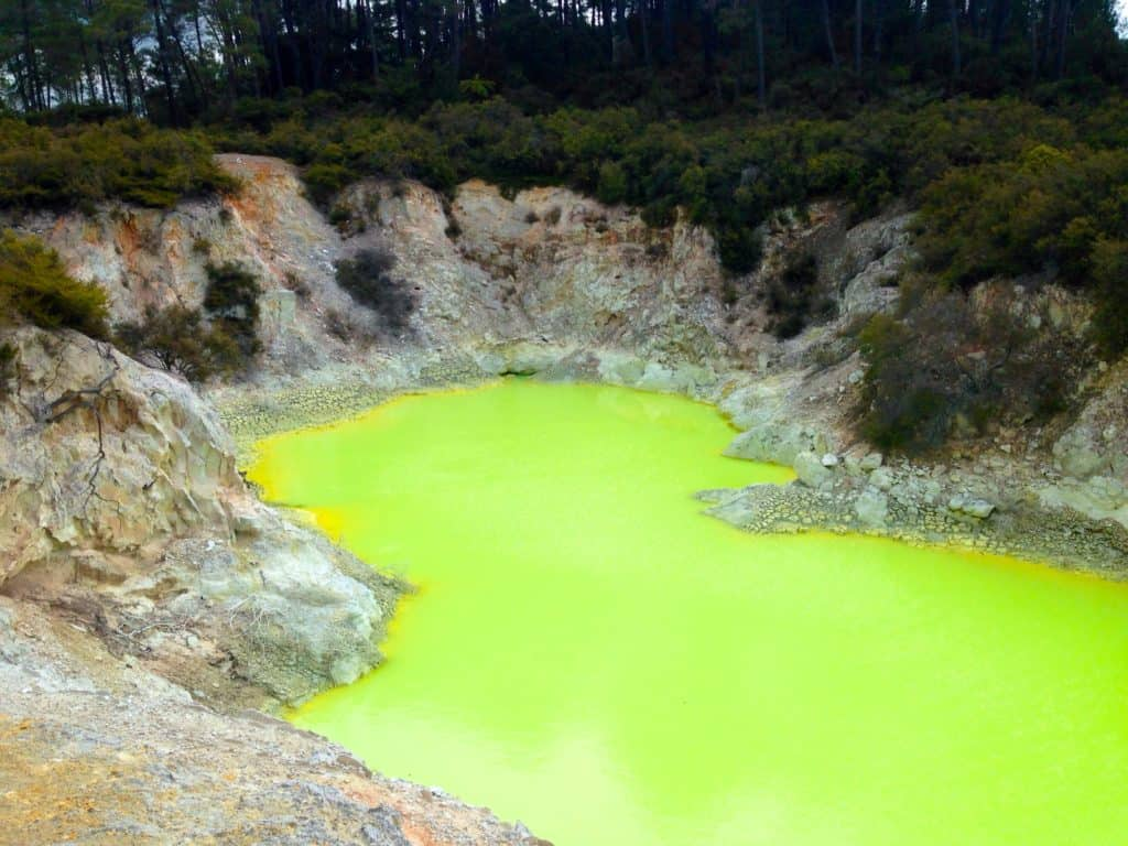 No filter needed! A neon lake in the thermal spring area of Rotorua New Zealand!