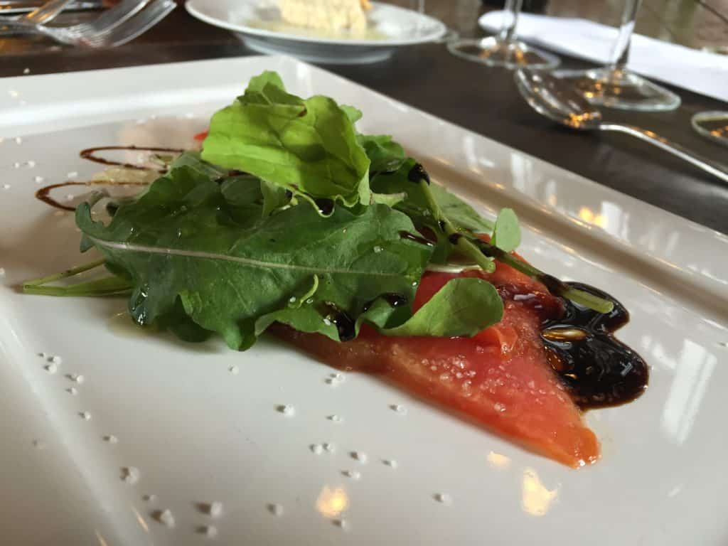 Watermelon carpaccio during our meal at Andeluna - 2 days of Mendoza winery tours