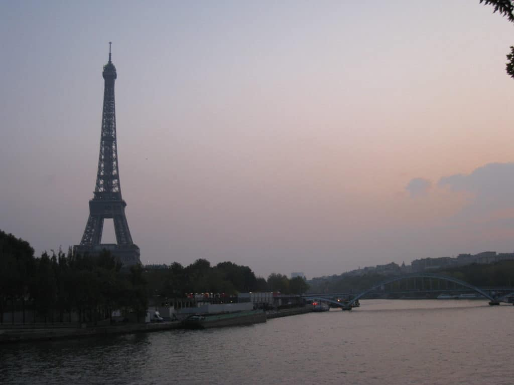Serendipitous sunset with the Eiffel Tower, the beginning of our 2 days in Paris