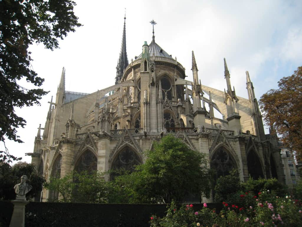 The backside of Gothic Notre Dame, a must with 48 hours in Paris