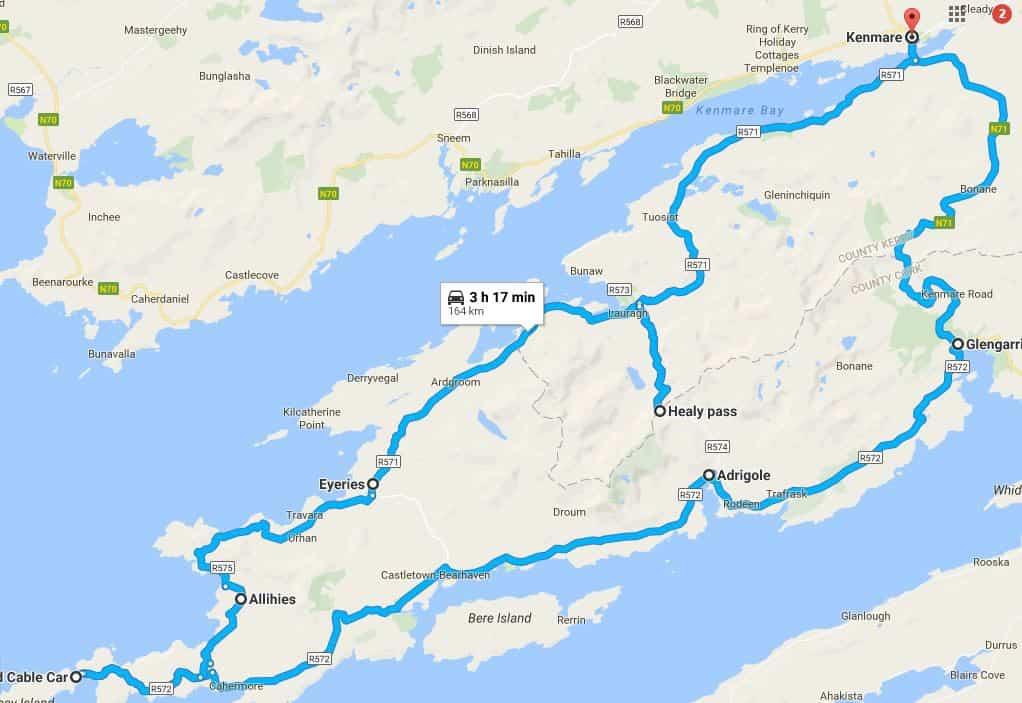 A map of our drive through Ireland's Beara Peninsula