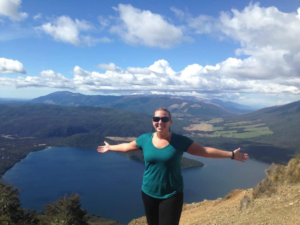 Views of Lake Roitoiti from above, while hiking Pinchgut Track on Mount Robert, New Zealand