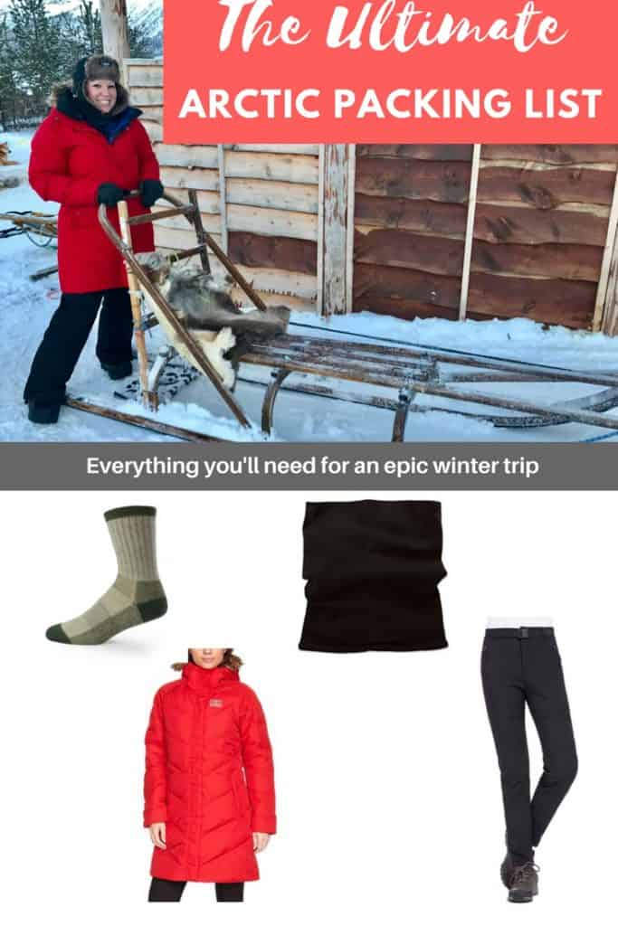 Arctic Winter Travel: A Detailed Packing List | The ultimate packing list for an Arctic winter trip! Tips for what to bring for Iceland, Norway, Sweden, or other Arctic Circle areas in the winter. Choosing the best fabrics and clothing for winter travel. Everything you need to know about winter in the Arctic. Best winter coat, boots, thermals, & more! A guide to Arctic wear. #arctic #packinglist #norway #iceland #sweden #arcticcircle