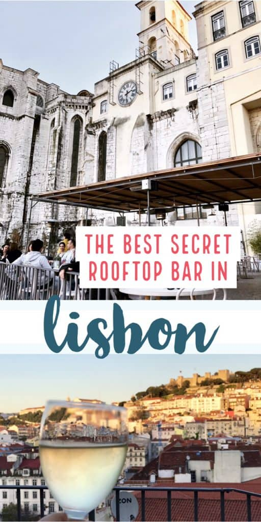 The Best (Secret) Rooftop Bar in Lisbon | Lisbon has tons of great views, but in all my research I'd never heard of this one. I accidentally stumbled on the best secret rooftop bar in Lisbon--in a medieval convent, nonetheless! I'll share the secret if you promise not to tell. Beautiful city views at sunset of Lisboa, with a crisp glass of vihno verde. #portugal #lisbon