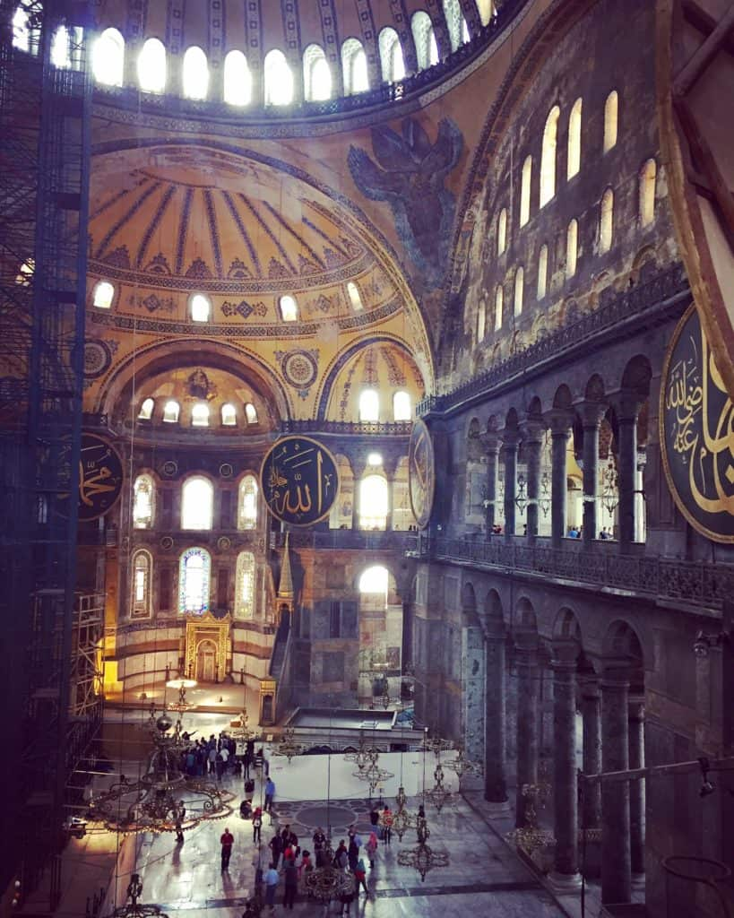 The inside of Hagia Sophia, one of the most famous buildings in the world and a must when visiting Istanbul | what to do with 24 hours in Istanbul, itinerary ideas for Istanbul, planning your trip, what to see, and more!