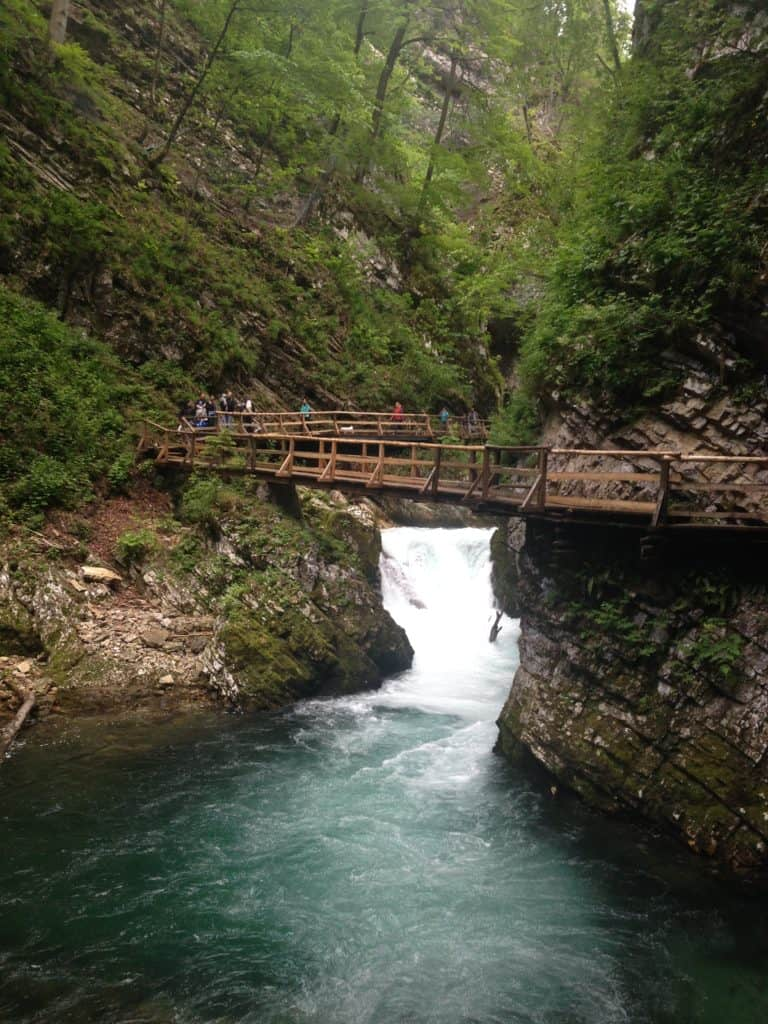 A walking bridge over Vintgar Gorge