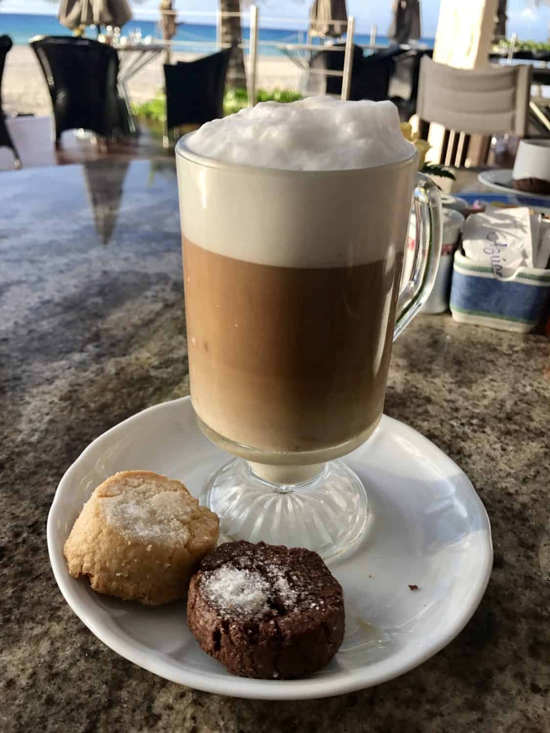 Beautiful caffe latte and biscuits in the morning