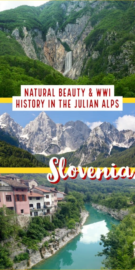Driving the Julian Alps in Slovenia | Make sure your Slovenia itinerary includes a drive through the Julian Alps, so often overlooked! The Julian Alps combine Slovenia's most amazing natural beauty with tons of heartbreaking WWI history, & are an easy day trip from Ljubljana or a great way to get between destinations. From the Vrsic Pass to the Soca River, this is a must on any Slovenia trip | What to do in Slovenia, Slovenia itinerary ideas, trip planning tips for #Slovenia #traveltips #itinerary #julianalps
