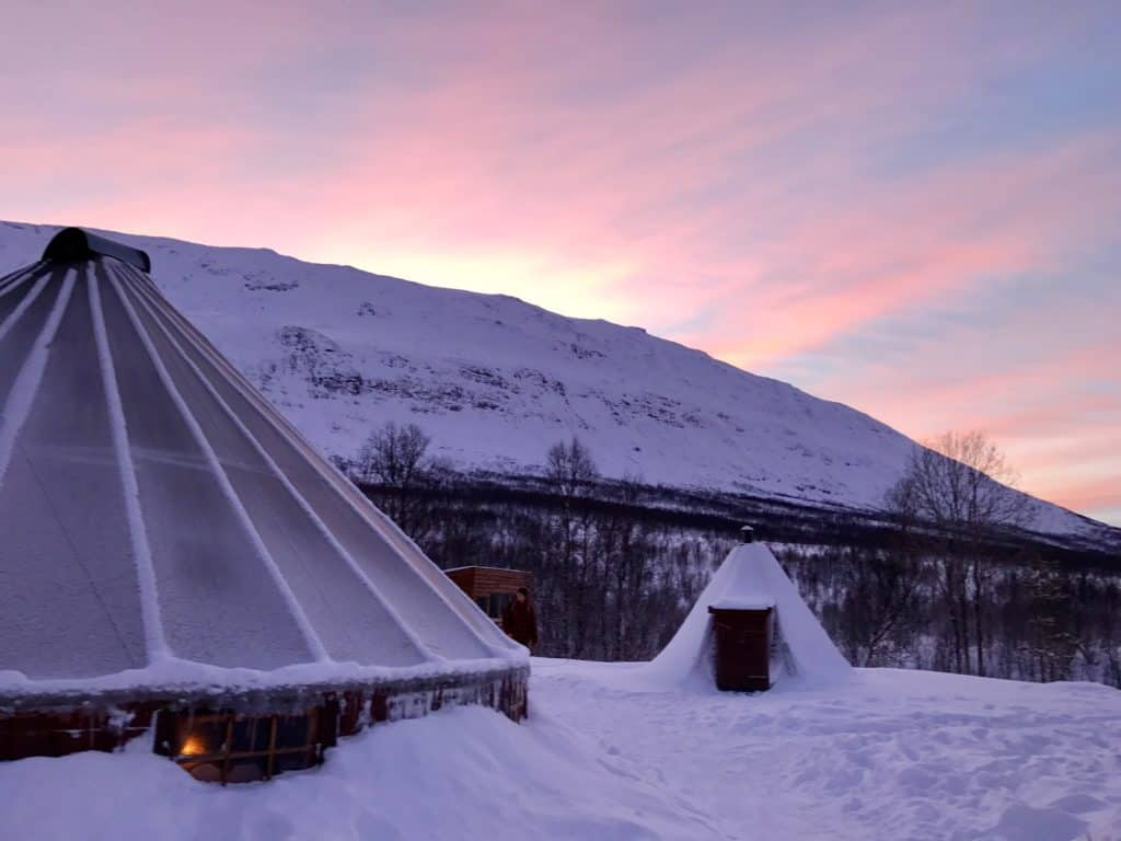 Beautiful sunrise/sunset at Camp Tamok with Lyngsfjord Adventures outside of Tromso, Norway