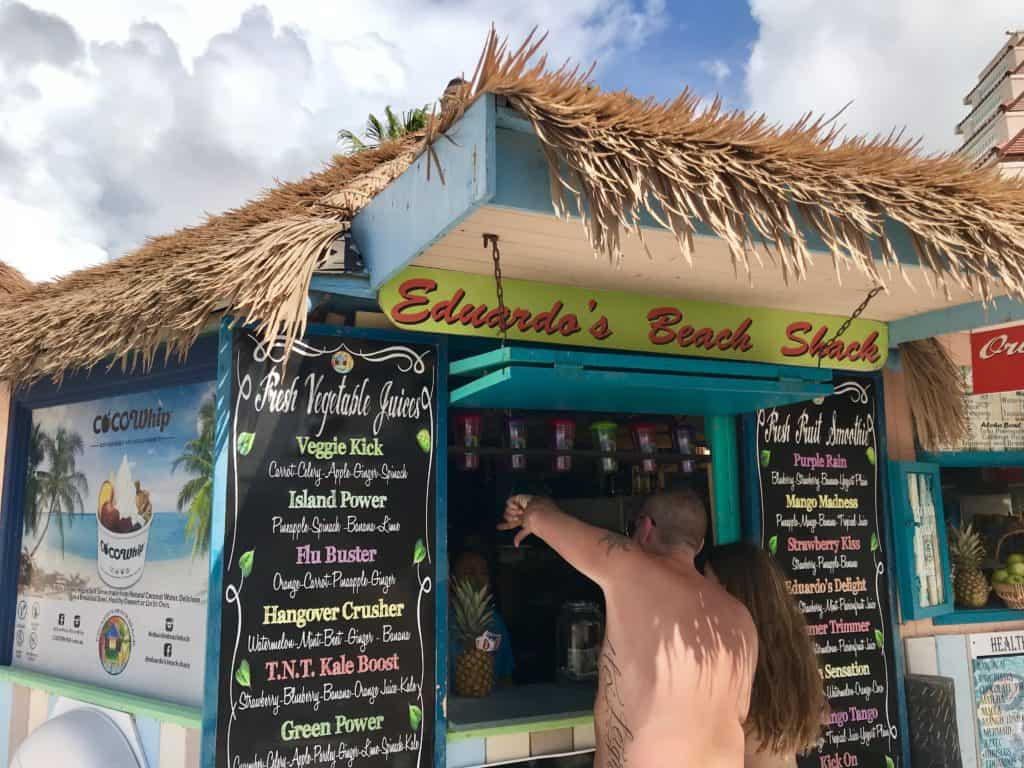 A visit to Eduardo's Beach Shack is a must if you're headed to Palm Beach in Aruba | 9 tips for an awesome, chill, DIY trip to Aruba...what to do in Aruba, solo trip to Aruba | tips for Aruba itinerary, how to plan a trip to Aruba, Aruba travel tips, solo travel ideas | Eagle Beach, Druif Beach, Aruba jeep tour, romantic restaurant in Aruba, Palm Beach, Aruba snorkeling sailing tour #aruba #solotravel #beachtrip