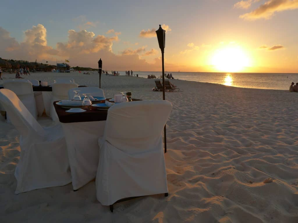 A romantic beach dinner is a must in Aruba | 9 tips for an awesome, chill, DIY trip to Aruba...what to do in Aruba, solo trip to Aruba | tips for Aruba itinerary, how to plan a trip to Aruba, Aruba travel tips, solo travel ideas | Eagle Beach, Druif Beach, Aruba jeep tour, romantic restaurant in Aruba, Palm Beach, Aruba snorkeling sailing tour #aruba #solotravel #beachtrip