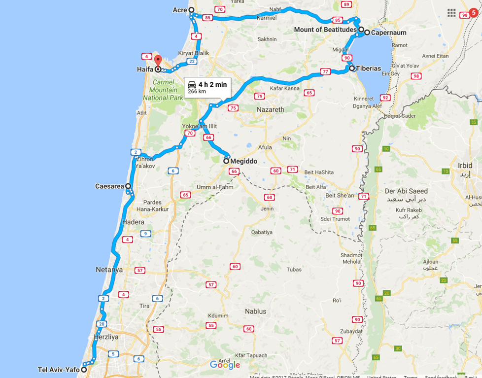 A day trip from Tel Aviv to northern Israel, covering Caesarea, Tel-Megiddo, the Sea of Galilee, Capernaum, the Mount of Beatitudes, Tiberias, and Akko | what to do in Israel | There's so much to visit in such a small area, you can have a jam-packed day driving from Tel Aviv or Jerusalem but cover so many historic sites and towns | Israel itinerary ideas, Christian history trips, visit the Jesus trail, bible archaeology tours, what to see in Israel, Jerusalem day trips #israel #seaofgalilee #telaviv