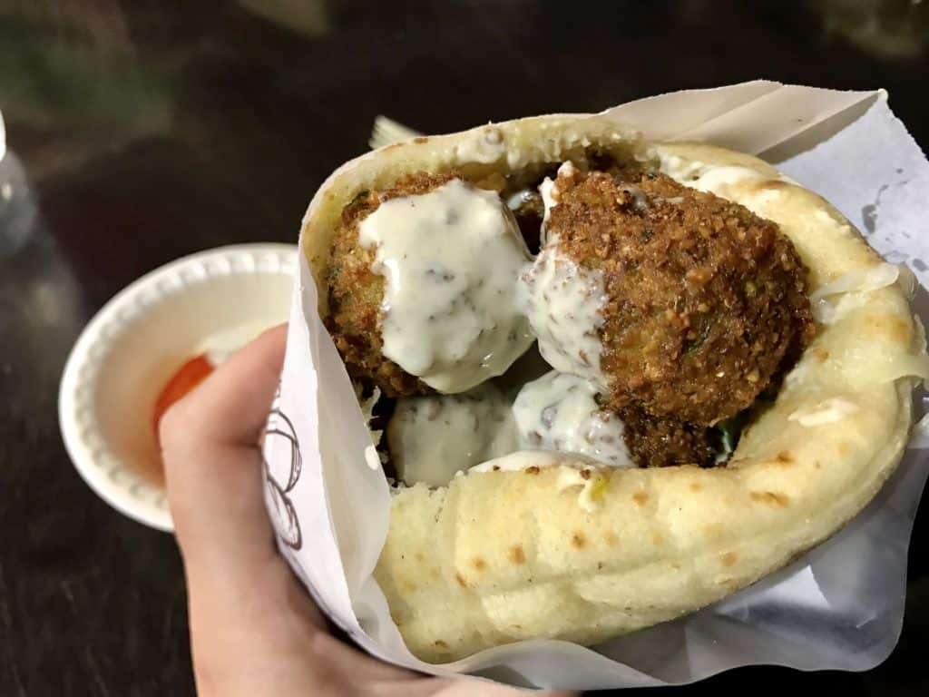 delicious falafel pita on our first night in Tel Aviv