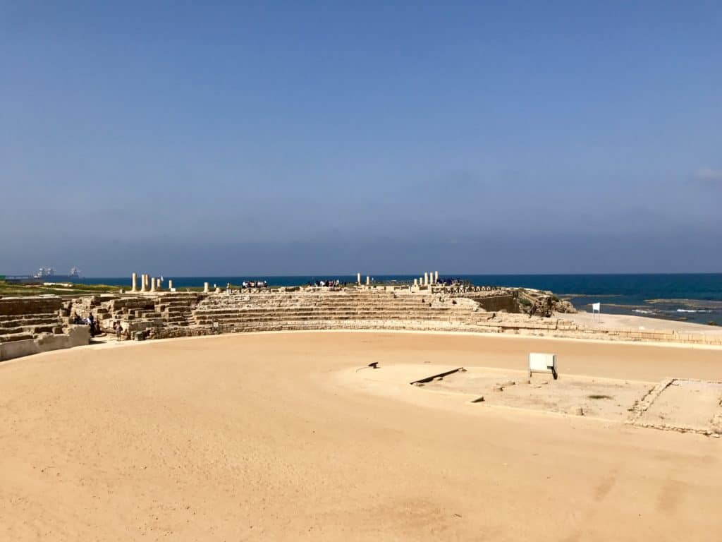 The hippodrome at Caesarea Maritima | A day trip from Tel Aviv to northern Israel, covering Caesarea, Tel-Megiddo, the Sea of Galilee, Capernaum, the Mount of Beatitudes, Tiberias, and Akko | what to do in Israel | There's so much to visit in such a small area, you can have a jam-packed day driving from Tel Aviv or Jerusalem but cover so many historic sites and towns | Israel itinerary ideas, Christian history trips, visit the Jesus trail, bible archaeology tours, what to see in Israel, Jerusalem day trips #israel #seaofgalilee #telaviv