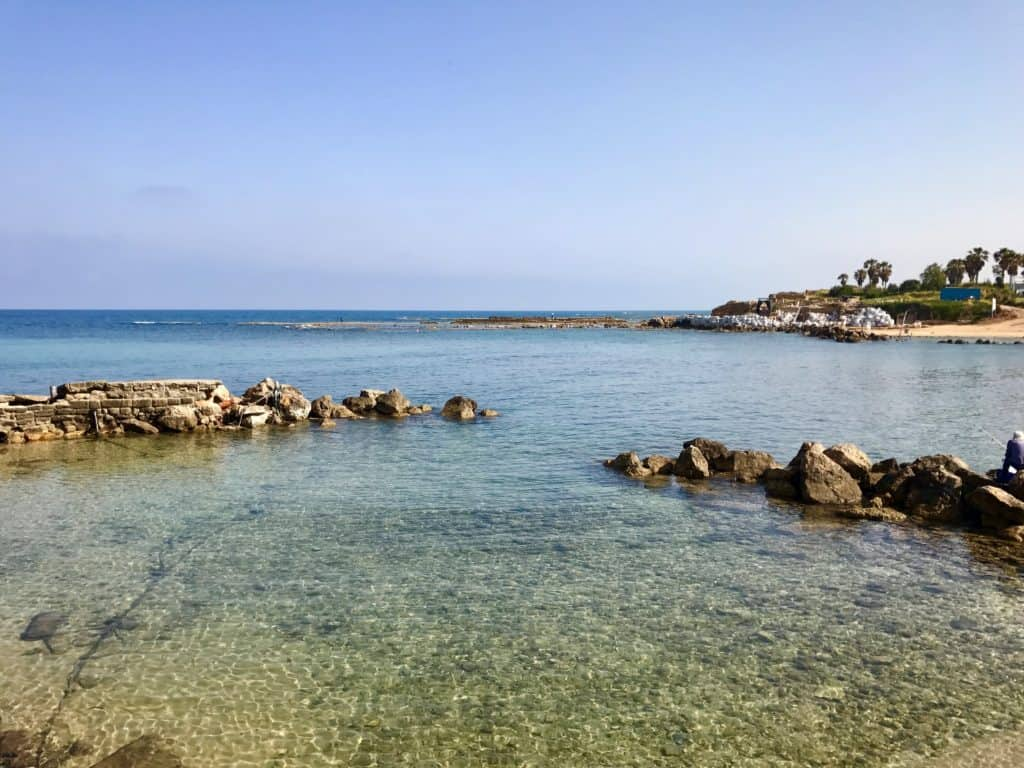 Turquoise waters in Caesarea Maritima