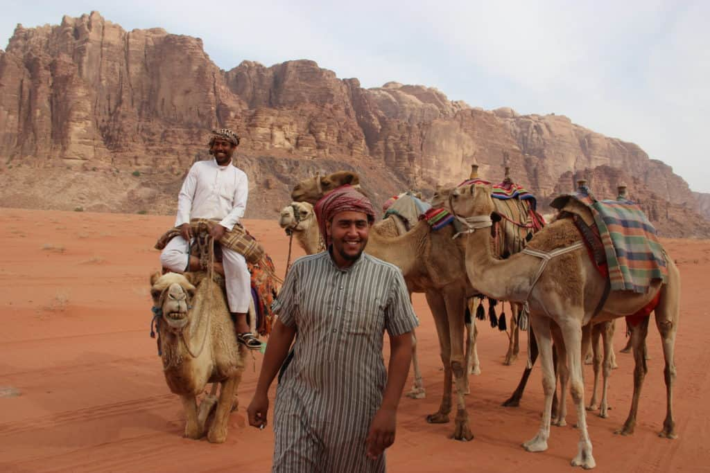 Camel rides in Wadi Rum desert, one of the activities in Wadi Rum