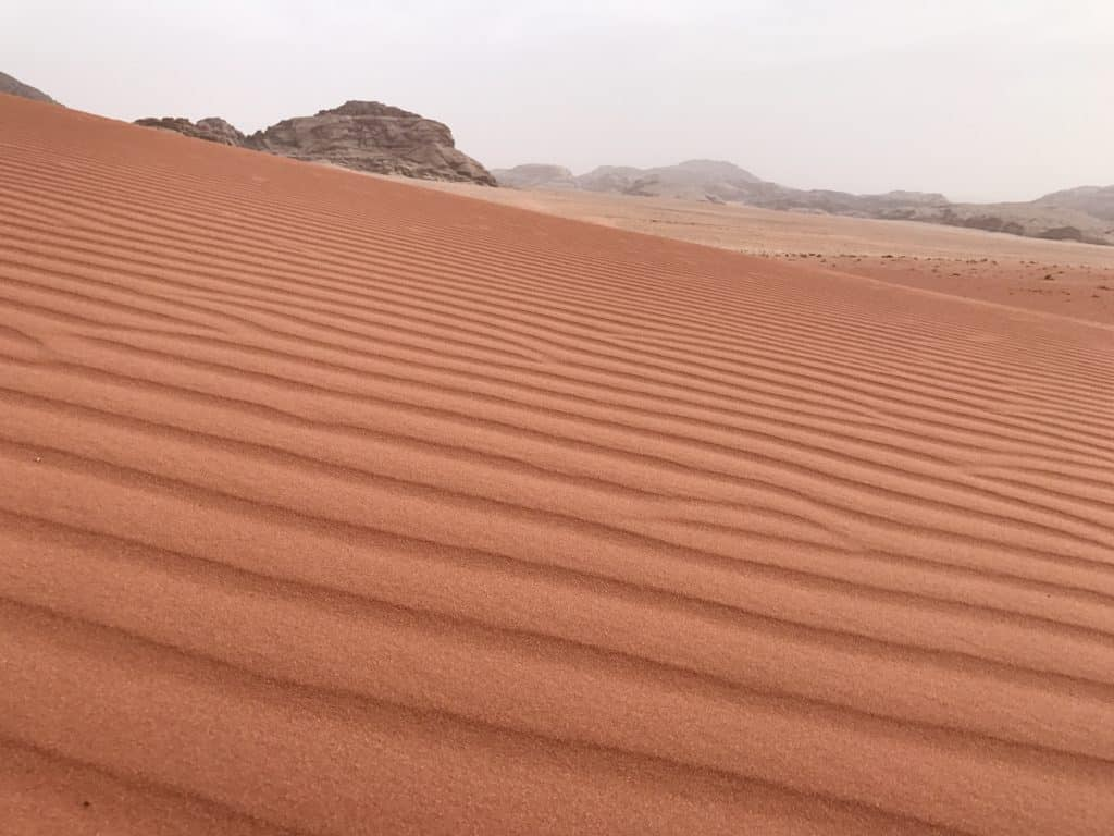 Rippling sand in the desert of Wadi Rum, Jordan