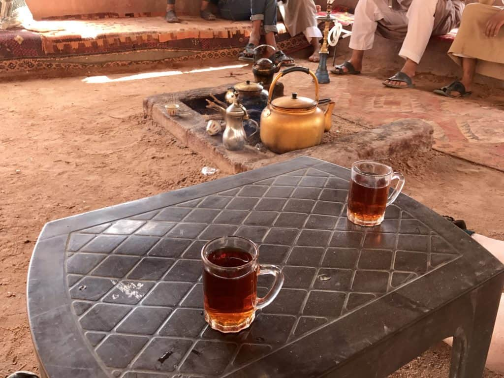 Delicious hot, sweet tea on our jeep tour in Wadi Rum!