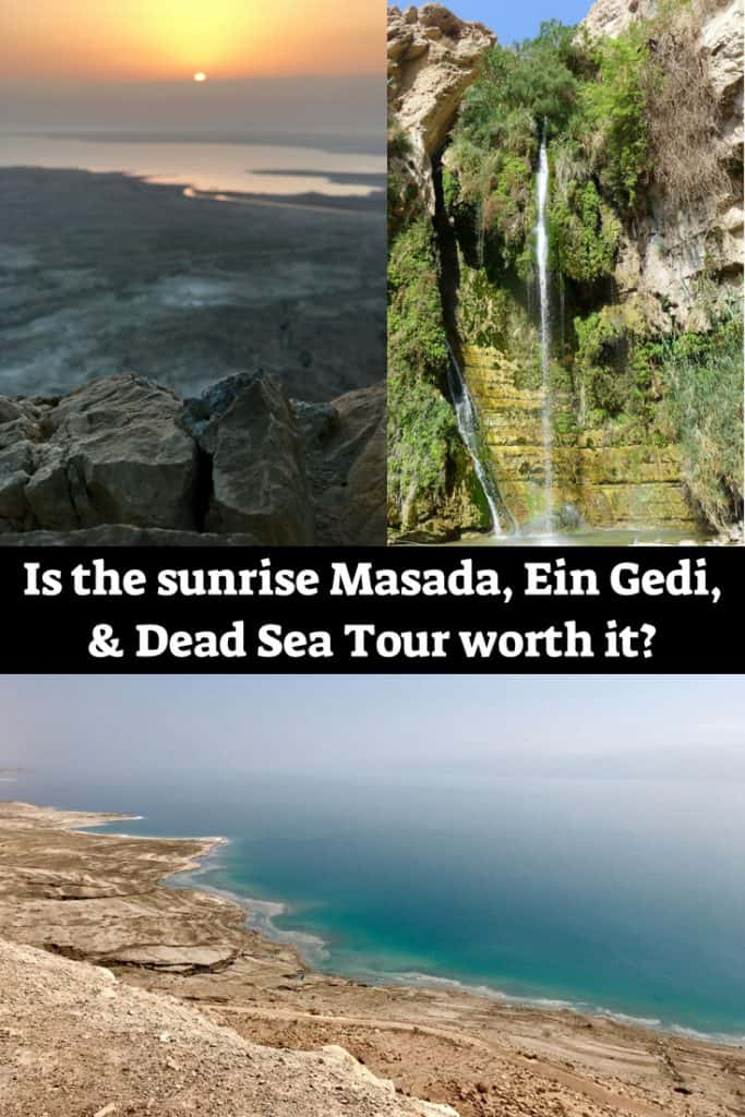 Is the popular sunrise Masada, Ein Gedi, & Dead Sea Tour worth it? I share pros & cons, things I liked & didn't about this tour. Israel itinerary ideas, how to hike Masada at sunrise, Dead Sea tour #israel #deadsea #itinerary