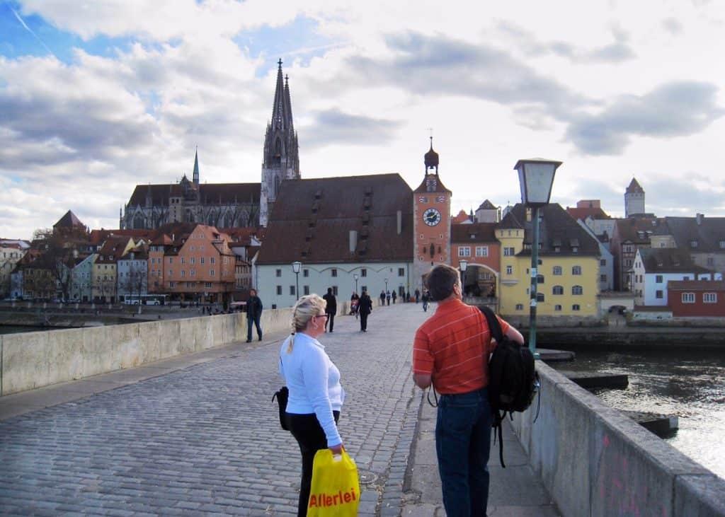 Regensburg view over the old stone bridge