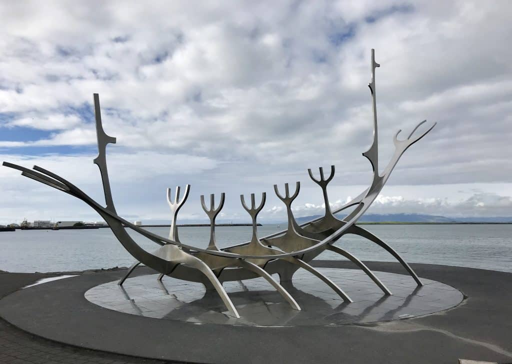 Reykjavik's famous Sun Voyager statue on the waterfront   One Girl, Whole World