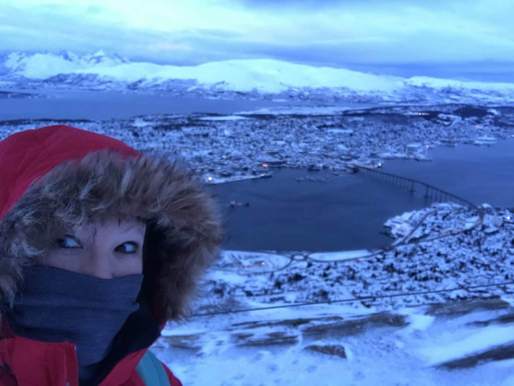 The view from Mount Storsteinen in Tromso, Norway...make sure to take the Fjellheisen cable car up on a clear day for the best view in Tromso!! What to do & see in Tromsø, Norway | One Girl, Whole World