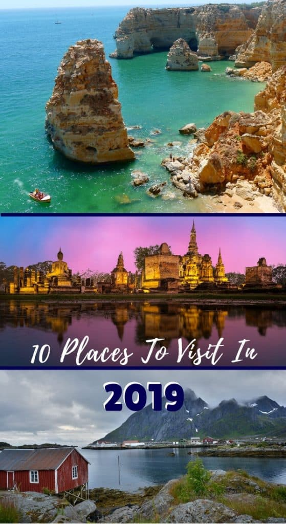 10 Places To Visit In 2019 | As you plan your 2019 travel, these 10 destinations should be in your consideration set for scenery, culture, unique experiences, and more! The best places to visit 2019, interesting holiday destinations! #2019travel #traveldestinations #travel #holidaydestinations #travel2019 #portugal #thailand #fjords #greece #cappadocia