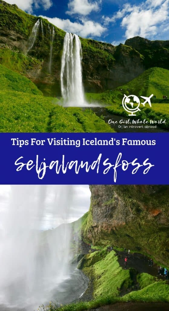 Seljalandsfoss Waterfall, Iceland | Photo inspiration and tips for planning your visit to Seljalandsfoss, one of the most famous and beautiful waterfalls in Iceland! Visit this waterfall you can walk behind, when to visit, how to see the hidden Gljúfrabúi falls, and more! #seljalandsfoss #iceland #waterfall #traveltips #itinerary #ringroad #goldencircle
