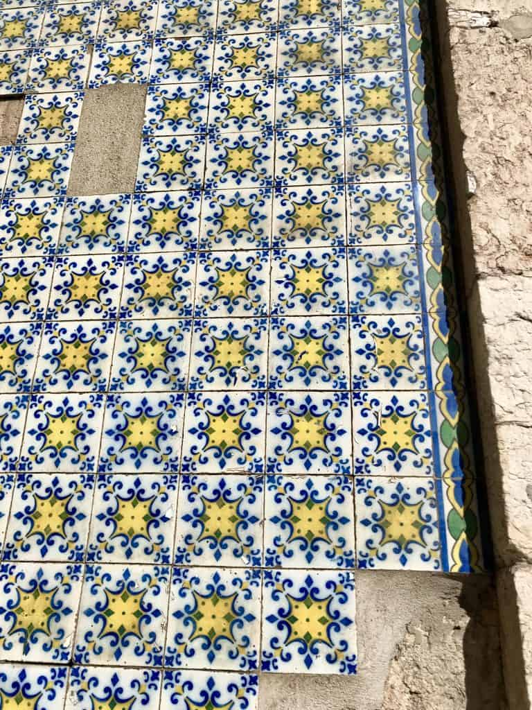 Closeup of the colorful tiles in Lisbon, Portugal