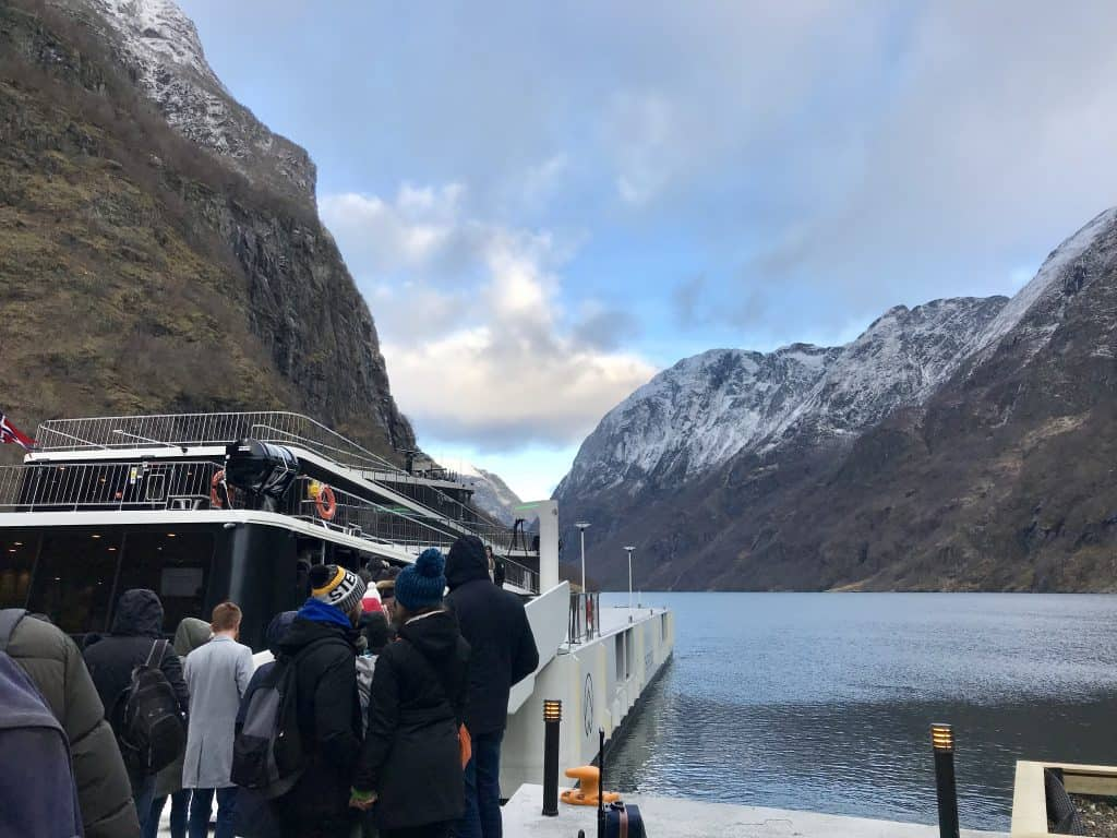Boarding the boat portion of Norway in a Nutshell tour