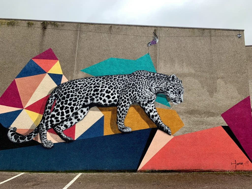 The Aberdeen leopard up close, some of the city's Nuart street art festival